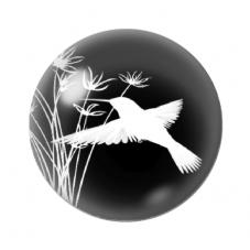 Cabochon en Verre Illustré Oiseau Colibri Fleurs 12 à 25mm pour la Création de Bijoux Fantaisie - DIY