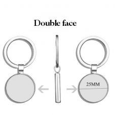 Support Porte-Clé Double Face Argenté pour Cabochon 25mm pour la Création de Bijoux Fantaisie