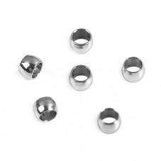 20 Perles à Écraser Argentées en Acier Inoxydable 2mm pour la Création de Bijoux Fantaisie - DIY