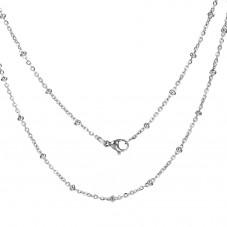 Collier Chaîne Argentée 2mm avec Perles en Acier Inoxydable - 50cm Long pour la Création de Bijoux Fantaisie - DIY