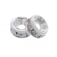 30 Perles Intercalaires en Métal Argenté avec Strass 5mm pour la Création de Bijoux Fantaisie - DIY