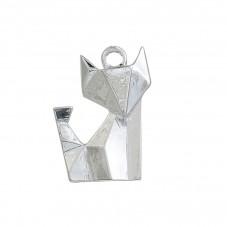 2 Breloques Renard Origami Argenté 22x16mm pour la Création de Bijoux Fantaisie - DIY