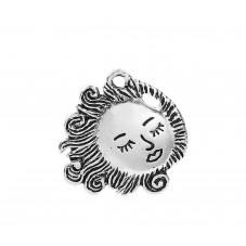 4 Breloques Soleil Chevelure Argenté 22x16mm pour la Création de Bijoux Fantaisie - DIY