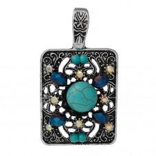 Pendentif Rectangulaire Argenté avec Strass et Turquoise en Résine 6,2x3,5cm pour la Création de Bijoux Fantaisie - DIY