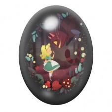 Cabochon en Verre Illustré Alice au Pays des Merveilles 13x18, 18x25 ou 30x40mm pour la Création de Bijoux Fantaisie - DIY