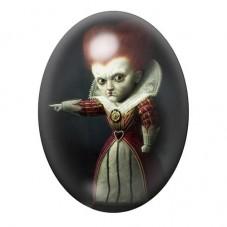 Cabochon en Verre Illustré La Reine de Coeur Alice Gothique 13x18, 18x25 ou 30x40mm pour la Création de Bijoux Fantaisie - DIY