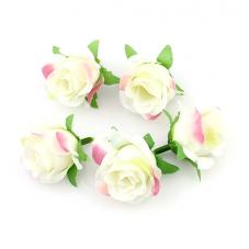 2 Têtes de Fleur Rose Ivoire 3-4cm