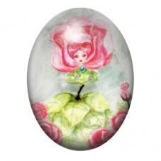 Cabochon en Verre Illustré Fleur Alice au Pays des Merveilles 13x18, 18x25 ou 30x40mm pour la Création de Bijoux Fantaisie - DIY