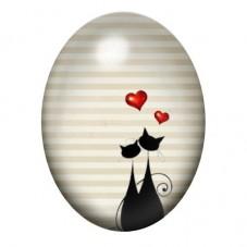 Cabochon en Verre Illustré Silhouette Chat Amoureux 13x18, 18x25 ou 30x40mm pour la Création de Bijoux Fantaisie - DIY