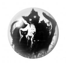 Cabochon en Verre Illustré Chat Gothique 12 à 25mm pour la Création de Bijoux Fantaisie - DIY