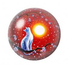 Cabochon en Verre Illustré Chat Lune 12 à 25mm pour la Création de Bijoux Fantaisie - DIY