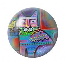 Cabochon en Verre Illustré Chat Colorés 12 à 25mm pour la Création de Bijoux Fantaisie - DIY
