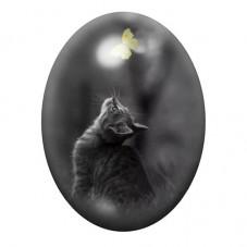 Cabochon en Verre Illustré Chat Papillon 13x18, 18x25 ou 30x40mm pour la Création de Bijoux Fantaisie - DIY