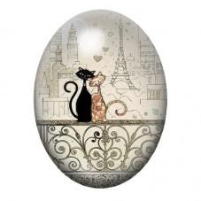 Cabochon en Verre Illustré Chat 13x18, 18x25 ou 30x40mm pour la Création de Bijoux Fantaisie - DIY
