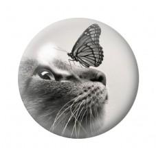 Cabochon en Verre Illustré Chat Papillon 12 à 25mm pour la Création de Bijoux Fantaisie - DIY