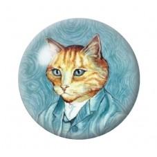 Cabochon en Verre Illustré Chat Style Van Gogh 12 à 25mm pour la Création de Bijoux Fantaisie - DIY