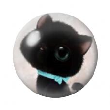 Cabochon en Verre Illustré Chat Mignon 12 à 25mm pour la Création de Bijoux Fantaisie - DIY