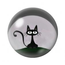 Cabochon en Verre Illustré Chat Noir 12 à 25mm pour la Création de Bijoux Fantaisie - DIY