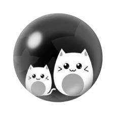 Cabochon en Verre Illustré Chats Noir et Blanc 12 à 25mm pour la Création de Bijoux Fantaisie - DIY