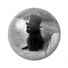 Cabochon en Verre Illustré Chat Classe Noir et Blanc 12 à 25mm pour la Création de Bijoux Fantaisie - DIY