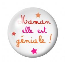 Cabochon en Verre Illustré Maman Géniale 12 à 25mm pour la Création de Bijoux Fantaisie - DIY