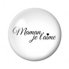 Cabochon en Verre Illustré Maman Je t'aime 12 à 25mm pour la Création de Bijoux Fantaisie - DIY