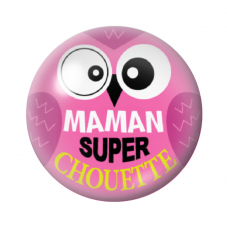 Cabochon en Verre Illustré Maman Super Chouette 12 à 25mm pour la Création de Bijoux Fantaisie - DIY