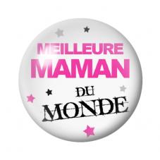 Cabochon en Verre Illustré Meilleure Maman au Monde 12 à 25mm pour la Création de Bijoux Fantaisie - DIY