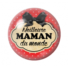 Cabochon en Verre Illustré Meilleure Maman du Monde 12 à 25mm pour la Création de Bijoux Fantaisie - DIY