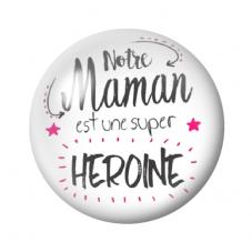 Cabochon en Verre Illustré Maman Super Héroine 12 à 25mm pour la Création de Bijoux Fantaisie - DIY
