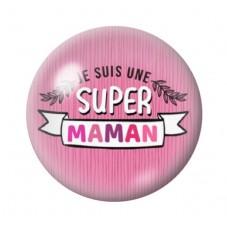 Cabochon en Verre Illustré Super Maman 12 à 25mm pour la Création de Bijoux Fantaisie - DIY