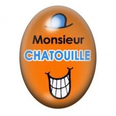 Cabochon en Verre Illustré Monsieur Chatouille 13x18 ou 18x25mm pour la Création de Bijoux Fantaisie - DIY