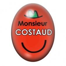 Cabochon en Verre Illustré Monsieur Costaud 13x18 ou 18x25mm pour la Création de Bijoux Fantaisie - DIY