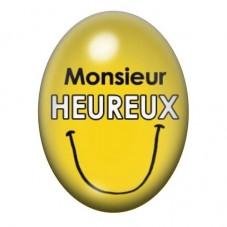 Cabochon en Verre Illustré Monsieur Heureux 13x18 ou 18x25mm pour la Création de Bijoux Fantaisie - DIY