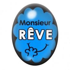 Cabochon en Verre Illustré Monsieur Rêve 13x18 ou 18x25mm pour la Création de Bijoux Fantaisie - DIY