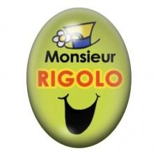 Cabochon en Verre Illustré Monsieur Rigolo 13x18 ou 18x25mm pour la Création de Bijoux Fantaisie - DIY