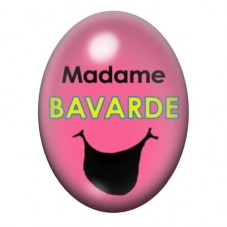 Cabochon en Verre Illustré Madame Bavarde 13x18 ou 18x25mmmm pour la Création de Bijoux Fantaisie - DIY