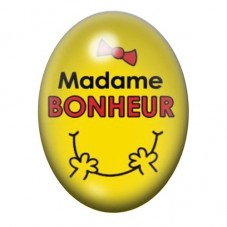 Cabochon en Verre Illustré Madame Bonheur 13x18 ou 18x25mm pour la Création de Bijoux Fantaisie - DIY
