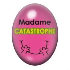 Cabochon en Verre Illustré Madame Catastrophe 13x18 ou 18x25mm pour la Création de Bijoux Fantaisie - DIY