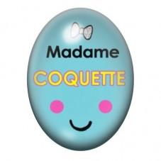 Cabochon en Verre Illustré Madame Coquette 13x18 ou 18x25mm pour la Création de Bijoux Fantaisie - DIY