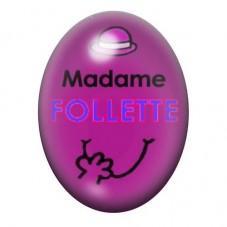 Cabochon en Verre Illustré Madame Follette 13x18 ou 18x25mm pour la Création de Bijoux Fantaisie - DIY
