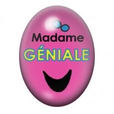 Cabochon en Verre Illustré Madame Géniale 13x18 ou 18x25mm pour la Création de Bijoux Fantaisie - DIY