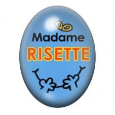 Cabochon en Verre Illustré Madame Risette 13x18 ou 18x25mm pour la Création de Bijoux Fantaisie - DIY