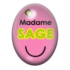 Cabochon en Verre Illustré Madame Sage 13x18 ou 18x25mm pour la Création de Bijoux Fantaisie - DIY