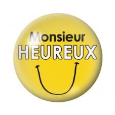 Cabochon en Verre Illustré Monsieur Heureux 12 à 25mm pour la Création de Bijoux Fantaisie - DIY