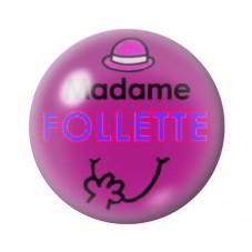 Cabochon en Verre Illustré Madame Follette 12 à 25mm pour la Création de Bijoux Fantaisie - DIY
