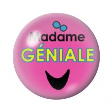 Cabochon en Verre Illustré Madame Géniale 12 à 25mm pour la Création de Bijoux Fantaisie - DIY