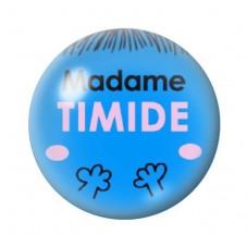 Cabochon en Verre Illustré Madame Timide 12 à 25mm pour la Création de Bijoux Fantaisie - DIY