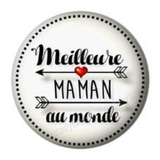 """Cabochon en Résine à Coller """"Meilleure Maman du Monde"""" 25mm pour la Création de Bijoux Fantaisie - DIY"""