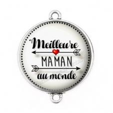 """Connecteur Cabochon en Résine """"Meilleure Maman du Monde"""" 25mm pour la Création de Bijoux Fantaisie - DIY"""